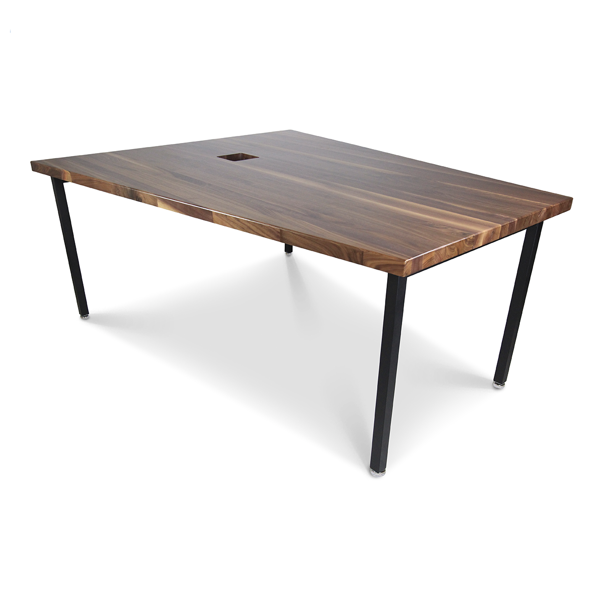contemporary trapezoid walnut conference table