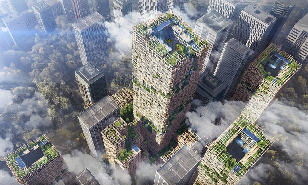 Tokyo to build 350m tower made of wood. Photograph: Sumitomo Forestry Co. Image by The Guardian.