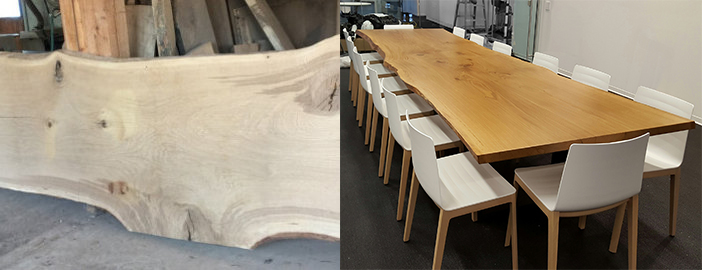 Live Edge Oak Top, image by Maxsun Seating Solutions