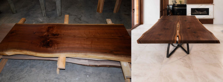Live Edge Walnut Top, image by Maxsun Seating Solutions