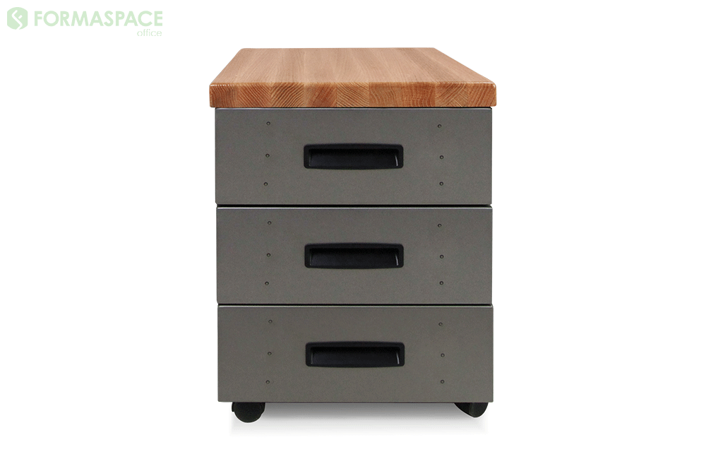 mobile pedestal with oak work surface