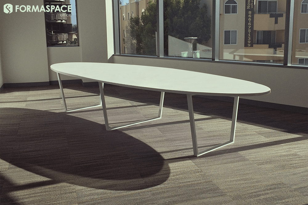white bottlenose conference table