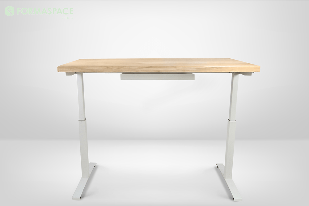 electric lift desk with maple top