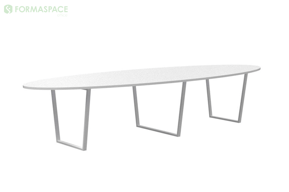 large white ellipse conference table