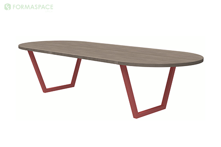 laminate woodgrain racetrack conference table thumbnail