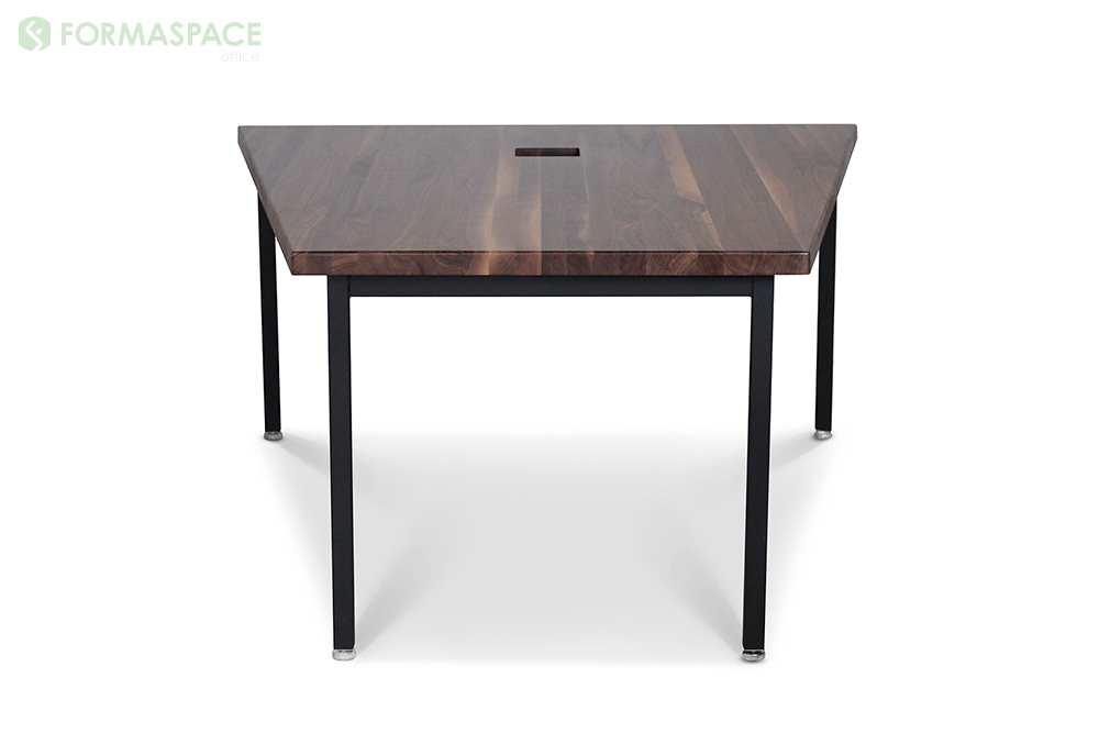 collaboration table with trapezoidal wood shape