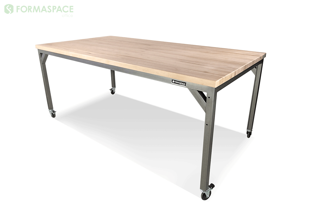 wood steel bar height table