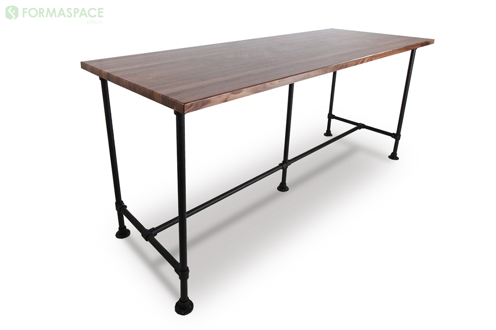 Bar Height Pipe Leg Table - Walnut conference table