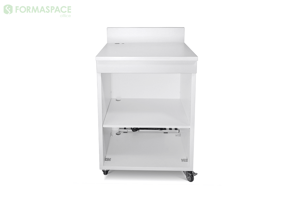 white custom lectern with storage