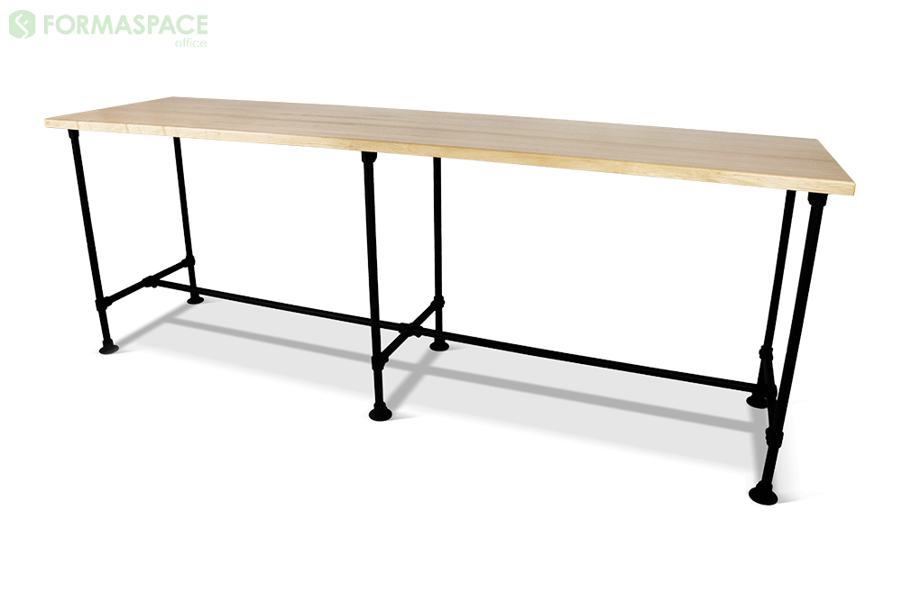 black pipe leg table with wood top