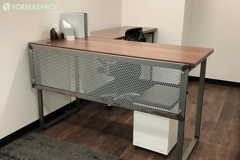 private office desk with modesty panel