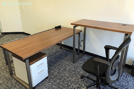 walnut surface private office desking solution