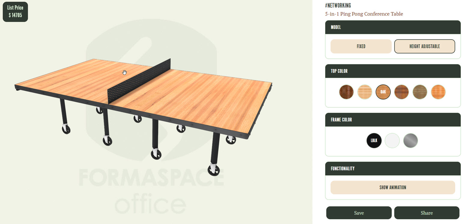 networking conference table 3d rendering