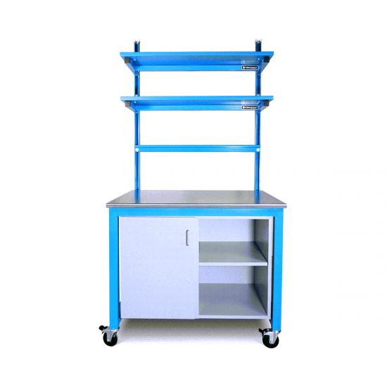 benchmarx blue powder coated steel upper shelves